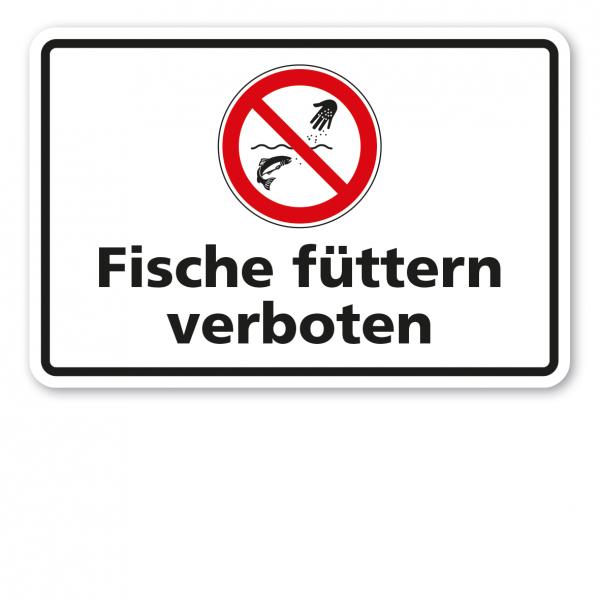 Verbotsschild Fische füttern verboten - Kombi
