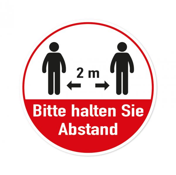 Bodenmarkierung - Bitte halten Sie Abstand - 2 Meter - Rund - Weiß/Rot - verschiedene Größen