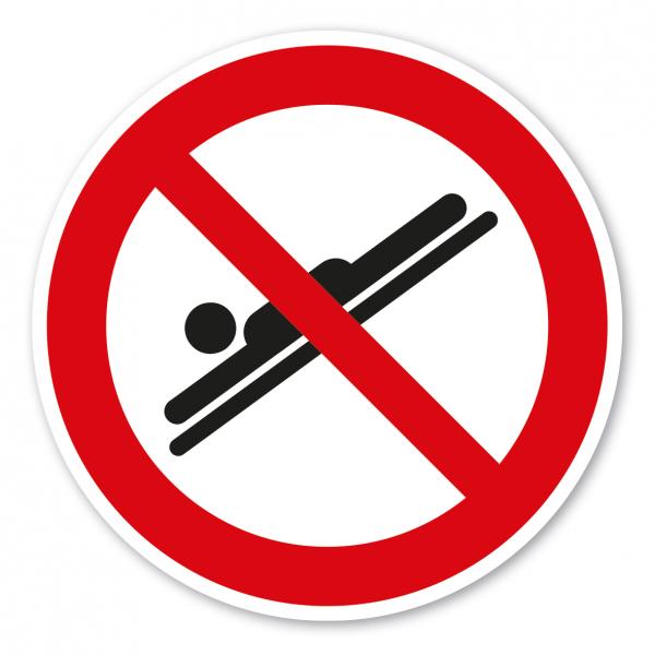 Verbotszeichen Auf dem Bauch liegend, Blick nach vorne rutschen ist verboten – Wasserrutschen