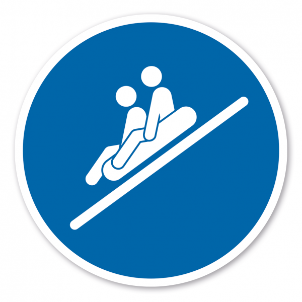 Gebotszeichen 2 Personen sitzend, Füße voraus rutschen - Rutschring – Wasserrutschen