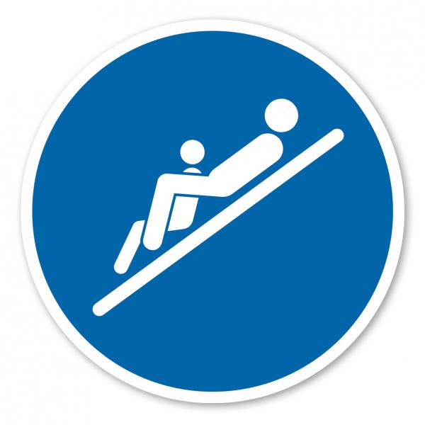 Gebotszeichen Mit Kind - Rückenlage, mit den Füßen zuerst, das Kind sitzt zwischen den Beinen – Wasserrutschen