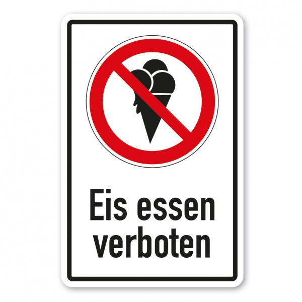 Verbotsschild Eis essen verboten - Kombi