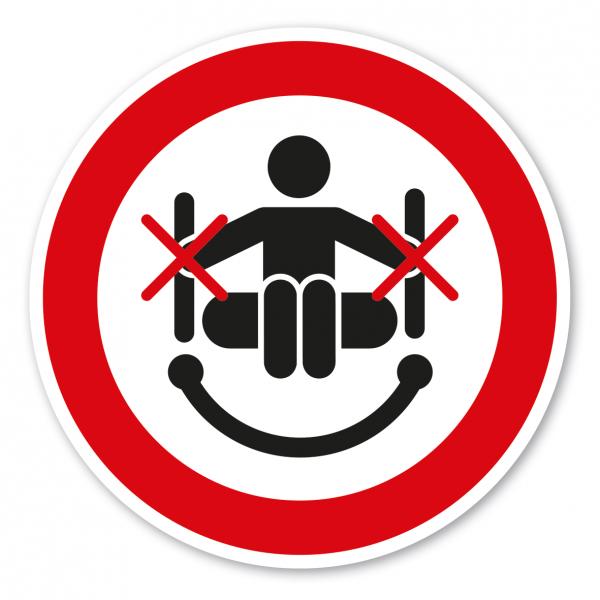 Verbotszeichen Nicht an den Rutschenseiten festhalten - Rutschring – Wasserrutschen