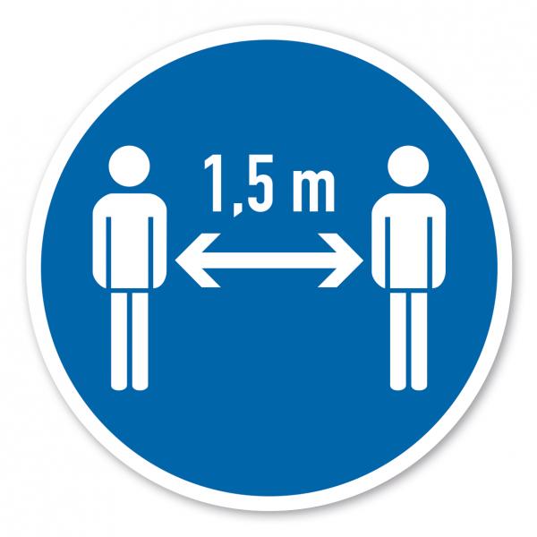 Bodenmarkierung - Gebotszeichen 1,5 m Abstand zu anderen Personen halten