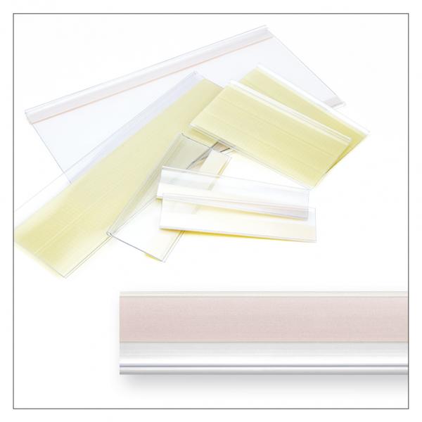 Etikettenhalter 940 x 21 mm, selbstklebend, transparent - 75 Stück