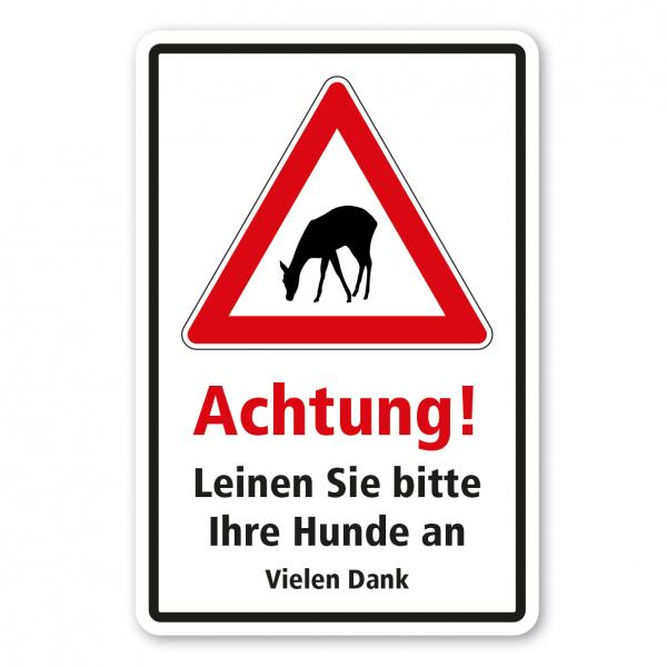 Hinweisschild Achtung - Leinen Sie bitte Ihre Hunde an - Kombi