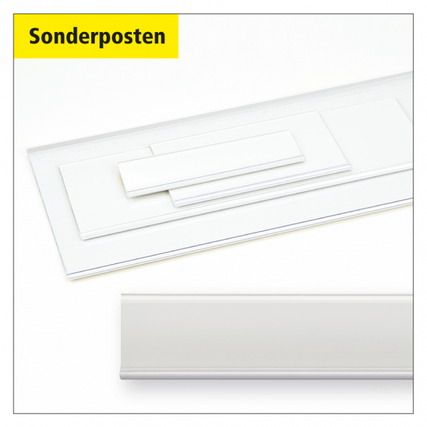 Sonderposten Etikettenhalter 1.160 x 28 mm, selbstklebend, weiß - 100 Stück