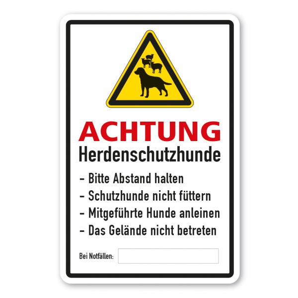 Warnschild Achtung - Herdenschutzhunde (Schafe) - Bitte Abstand halten - Schutzhunde nicht füttern - Hunde anleinen - Gelände nicht betreten - mit Platz für Notrufnummer - Kombi