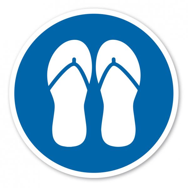 Gebotszeichen Badesandalen - Flip-Flops anziehen