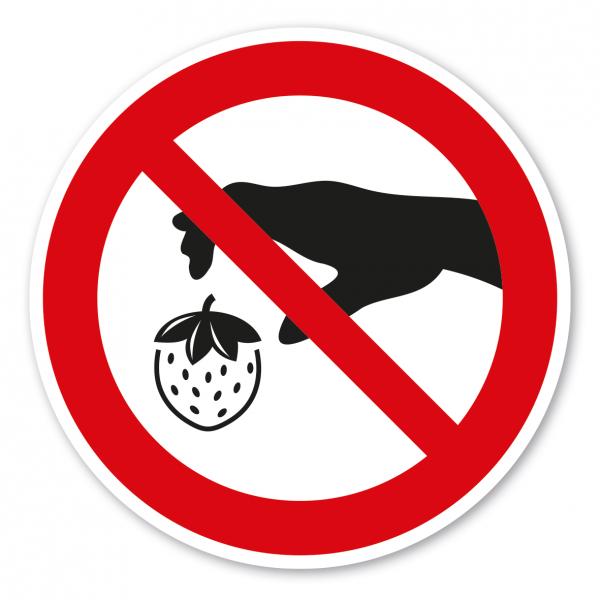 Verbotszeichen Erdbeeren pflücken verboten - Ernteschild