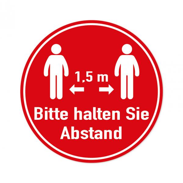 Bodenmarkierung - Bitte halten Sie Abstand - 1,5 Meter - Rund - Rot - verschiedene Größen