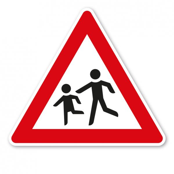Verkehrsschild Achtung Kinder - Aufstellung rechts – VZ 136-10