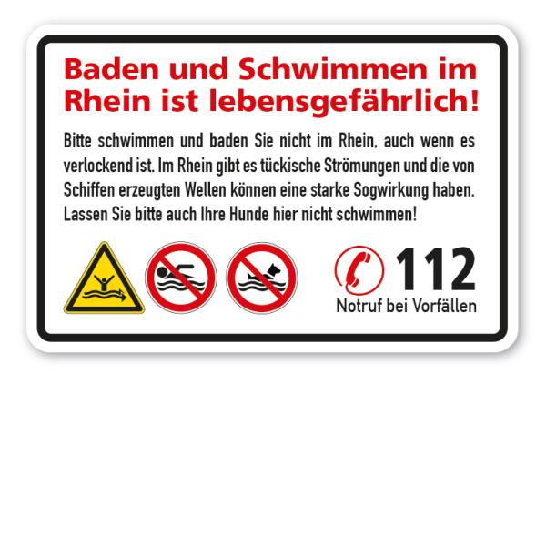 Warnschild Baden und Schwimmen im Rhein ist lebensgefährlich! - mit 3 Sicherheitszeichen und Notrufnummer 112