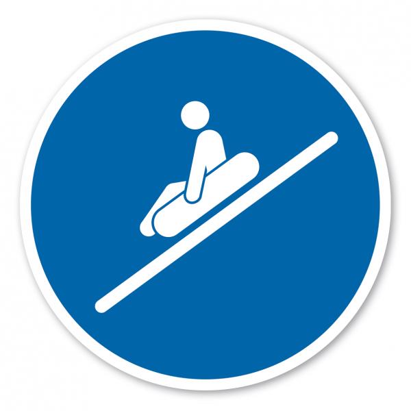 Gebotszeichen Sitzend, Füße voraus rutschen - Rutschring – Wasserrutschen