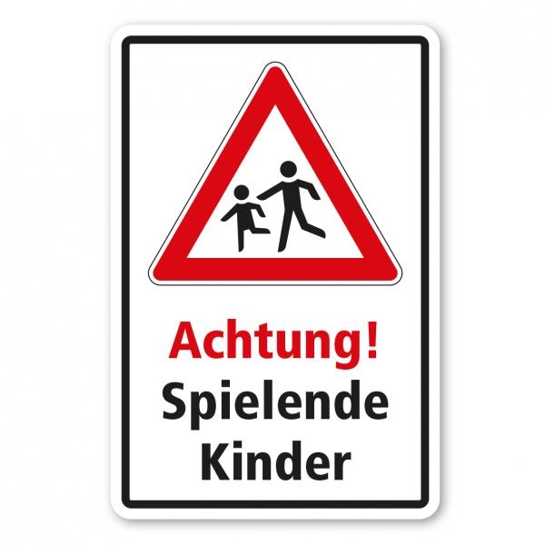 Kinderschild / Verkehrsschild Achtung spielende Kinder - Kombi