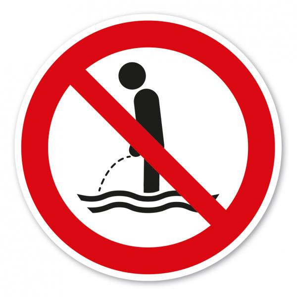 Verbotszeichen Ins Wasser urinieren verboten