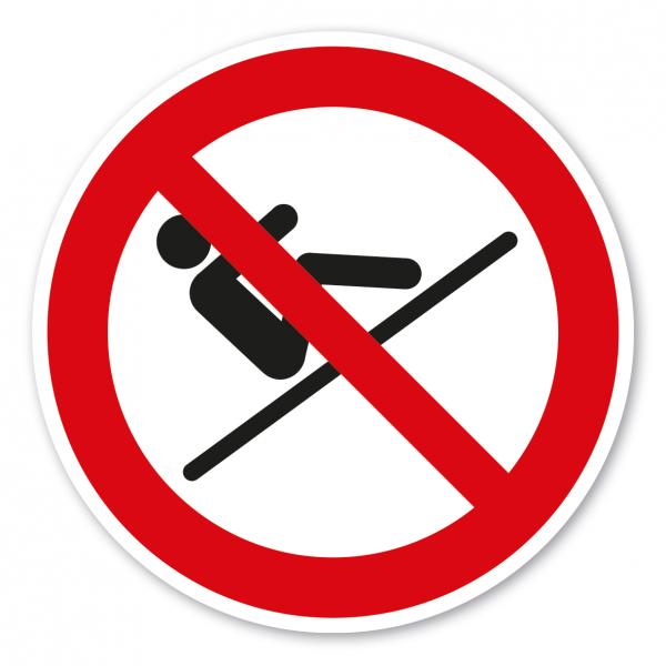 Verbotszeichen Rückwärts sitzend rutschen ist verboten – Wasserrutschen