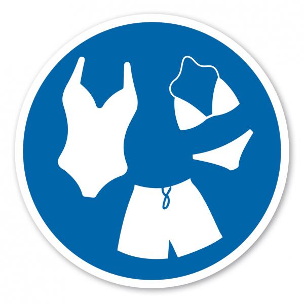 Gebotszeichen Schwimmbekleidung tragen
