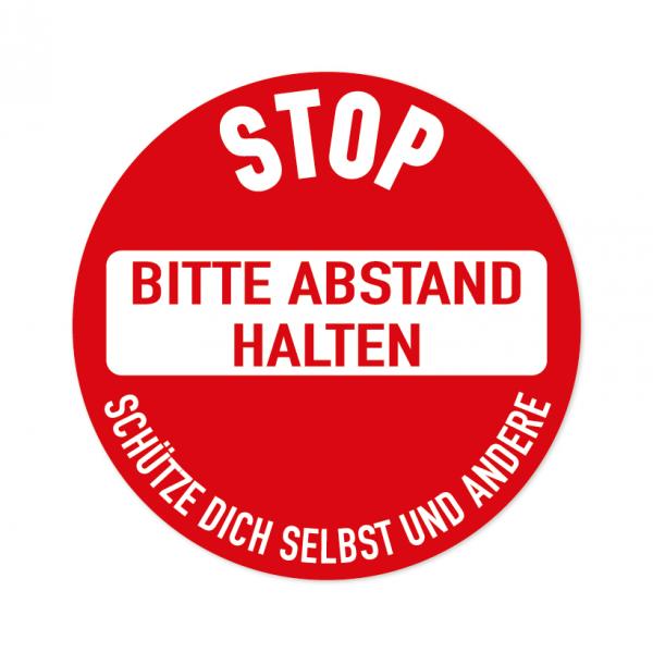 Bodenmarkierung - Stop - Bitte Abstand halten - Rund - Text - verschiedene Größen