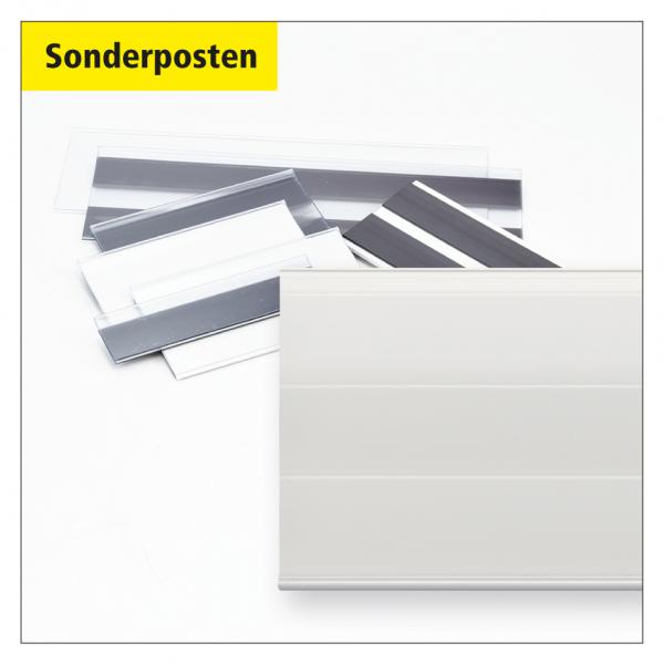 Sonderposten Etikettenhalter 500 x 83 mm, magnetisch, weiß - 45 Stück