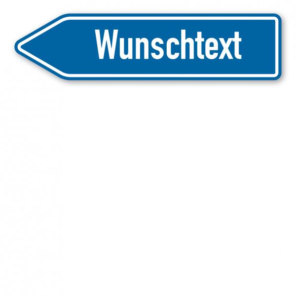 Pfeilschild / Pfeilwegweiser – individuelle Ausführung in blau/weiß