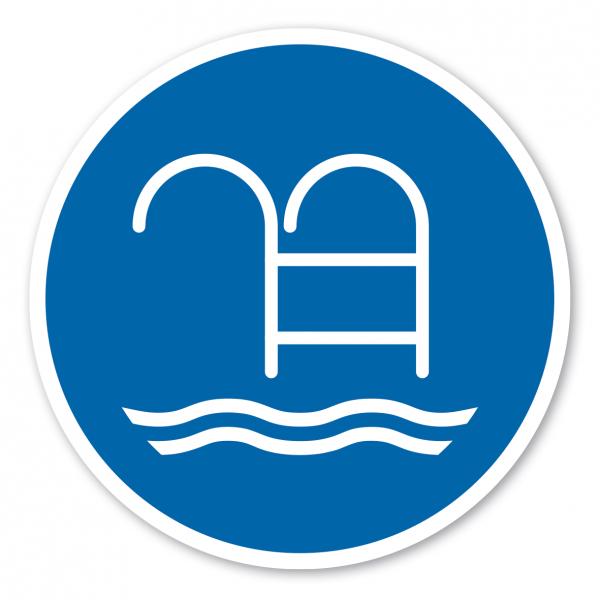 Gebotszeichen Treppe - Leiter benutzen - Schwimmbecken
