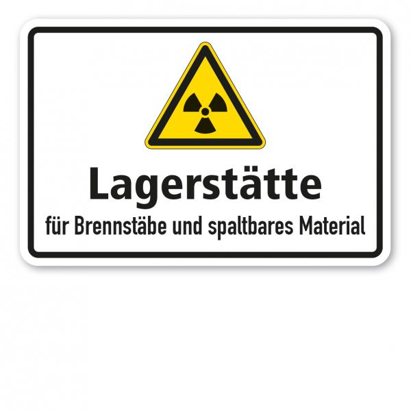 Warnschild Achtung Lagerstätte für Brennstäbe und spaltbares Material 02