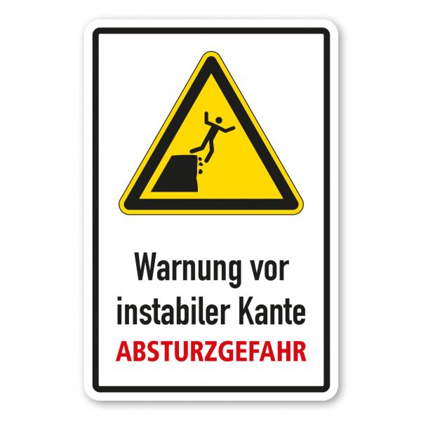 Warnschild Warnung vor instabiler Kante - Klippenkante - Absturzgefahr - Kombi - ISO 20712-1 - WSW010-K