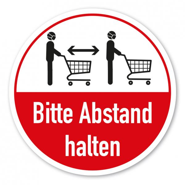Bodenmarkierung - Hygienehinweis Bitte Abstand halten - mit Einkaufswagen