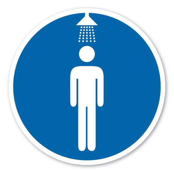 Gebotszeichen Duschen benutzen