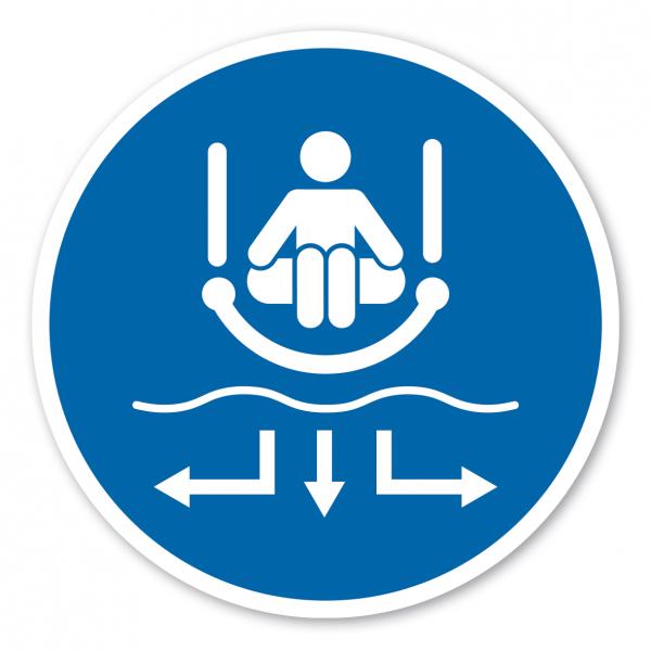 Gebotszeichen Sofort aus dem Zielbereich entfernen - Rutschring – Wasserrutschen