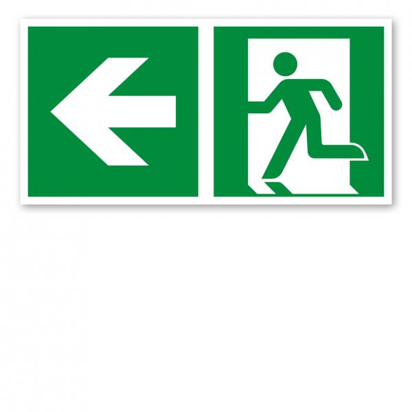 Fluchtwegschild Rettungsweg links - ISO 7010 - E001-1-B