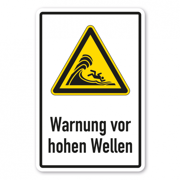 Warnschild Warnung vor hoher Brandung oder hohen brechenden Wellen - Kombi - ISO 20712-1 - WSW023-K