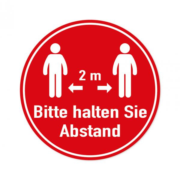 Bodenmarkierung - Bitte halten Sie Abstand - 2 Meter - Rund - Rot - verschiedene Größen
