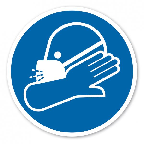 Bodenmarkierung - Gebotszeichen Nur in die Armbeuge niesen und husten – auch mit Schutzmaske
