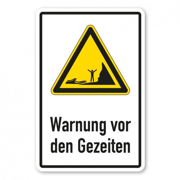 Warnschild Warnung vor den Gezeiten - Kombi - ISO 20712-1 - WSW018-K