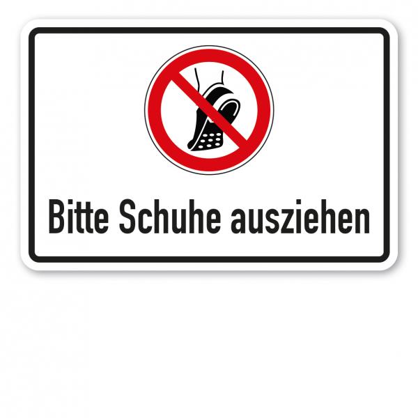 Verbotsschild Bitte Schuhe ausziehen