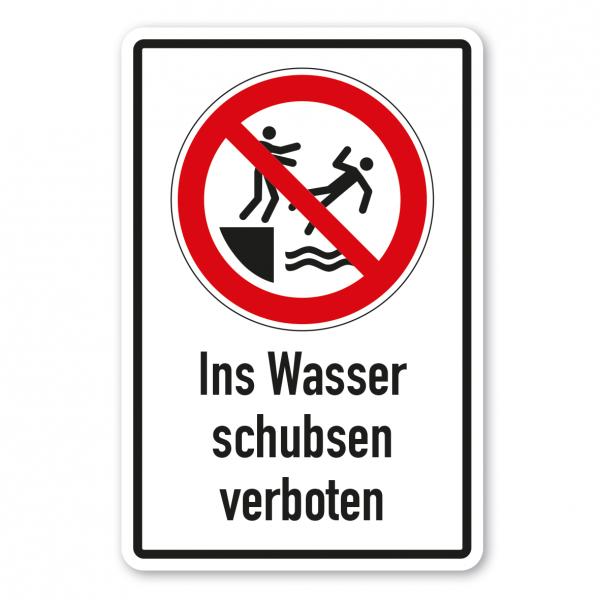 Verbotsschild Ins Wasser schubsen verboten - Kombi – ISO 20712-1-WSP-015-K