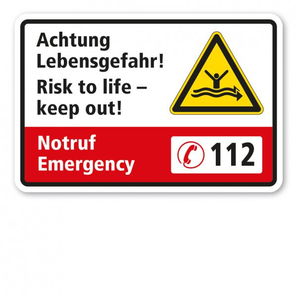 Warnschild Achtung Lebensgefahr - Risk to life - keep out! – Notruf/Emergency 112 – Mit Warnzeichen Starke Strömung - Ertrinkungsgefahr nach ISO 20712-1 - WSW015