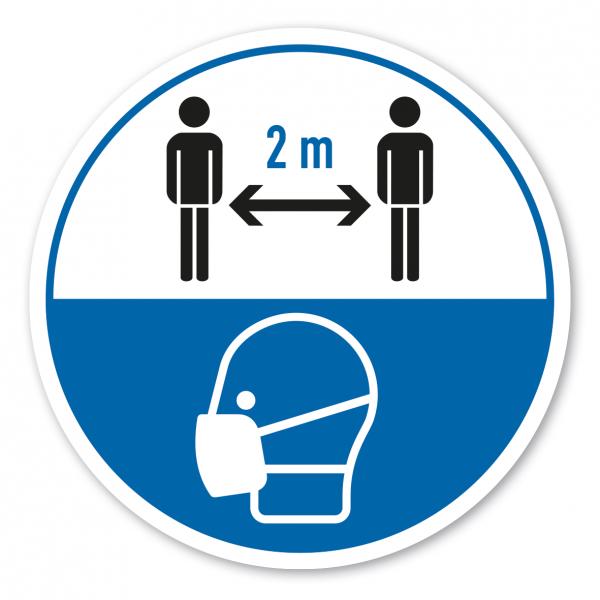 Bodenmarkierung - Hygienehinweis 2 m Abstand halten - mit Schutzmaskensymbol