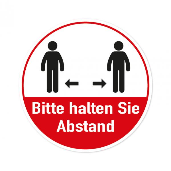 Bodenmarkierung - Bitte halten Sie Abstand - Rund - Weiß/Rot - verschiedene Größen
