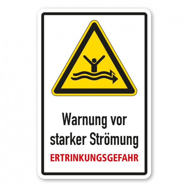 Warnschild Warnung vor starker Strömung - Ertrinkungsgefahr - Kombi - ISO 20712-1 - WSW015-K