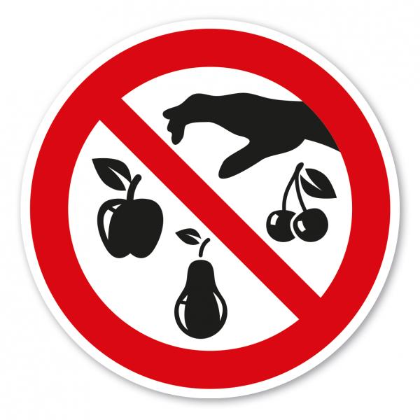 Verbotszeichen Obst pflücken verboten - Ernteschild