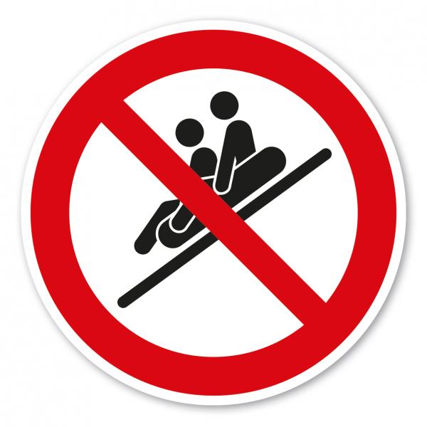 Verbotszeichen Zu 2 Personen sitzend, Füße voraus rutschen ist verboten - Rutschring – Wasserrutschen