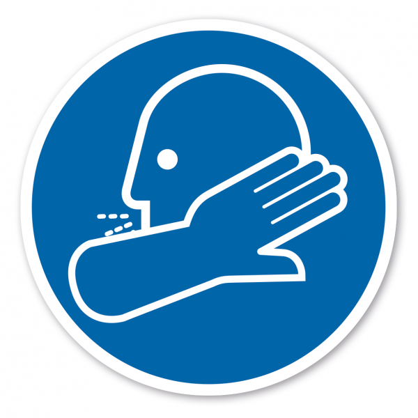 Bodenmarkierung - Gebotszeichen Nur in die Armbeuge niesen und husten