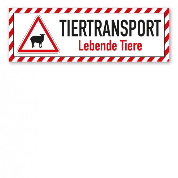 Schild für Tiertransporte - Tiertransport - Lebende Tiere - Schafe - mit roter Warnstreifenumrandung und Warnsymbol