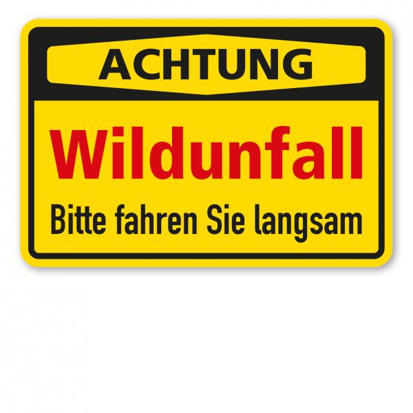 Warnschild Achtung - Wildunfall - Bitte fahren Sie langsam