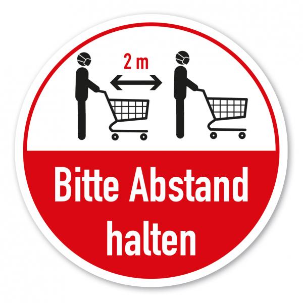 Bodenmarkierung - Hygienehinweis Bitte 2 m Abstand halten - mit Einkaufswagen