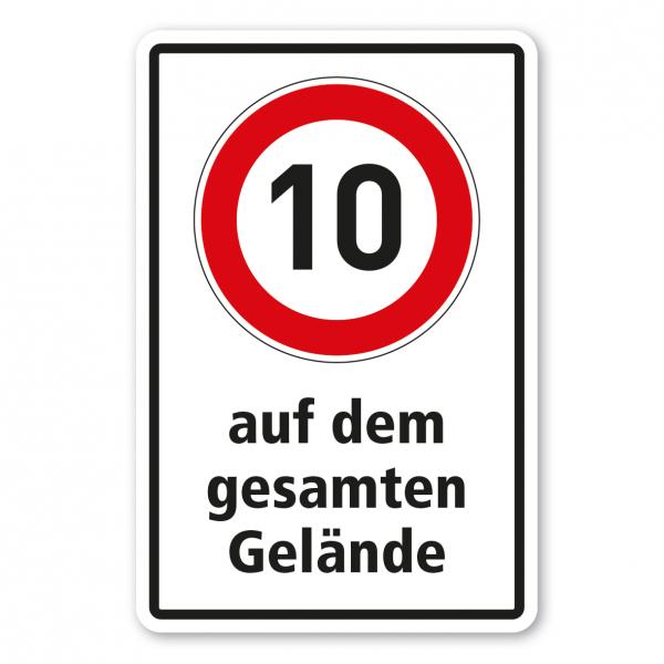 Betriebsschild 10 km/h auf dem gesamten Gelände - Kombi