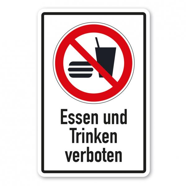 Verbotsschild Essen und Trinken verboten - Kombi – ISO 7010 - P022-K